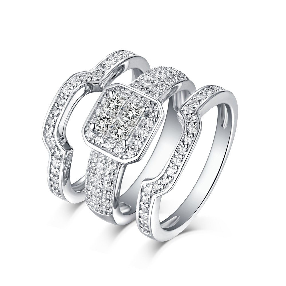 Princess Cut Halo 925 Sterling Silver White Sapphire 3 Piece Ring Sets