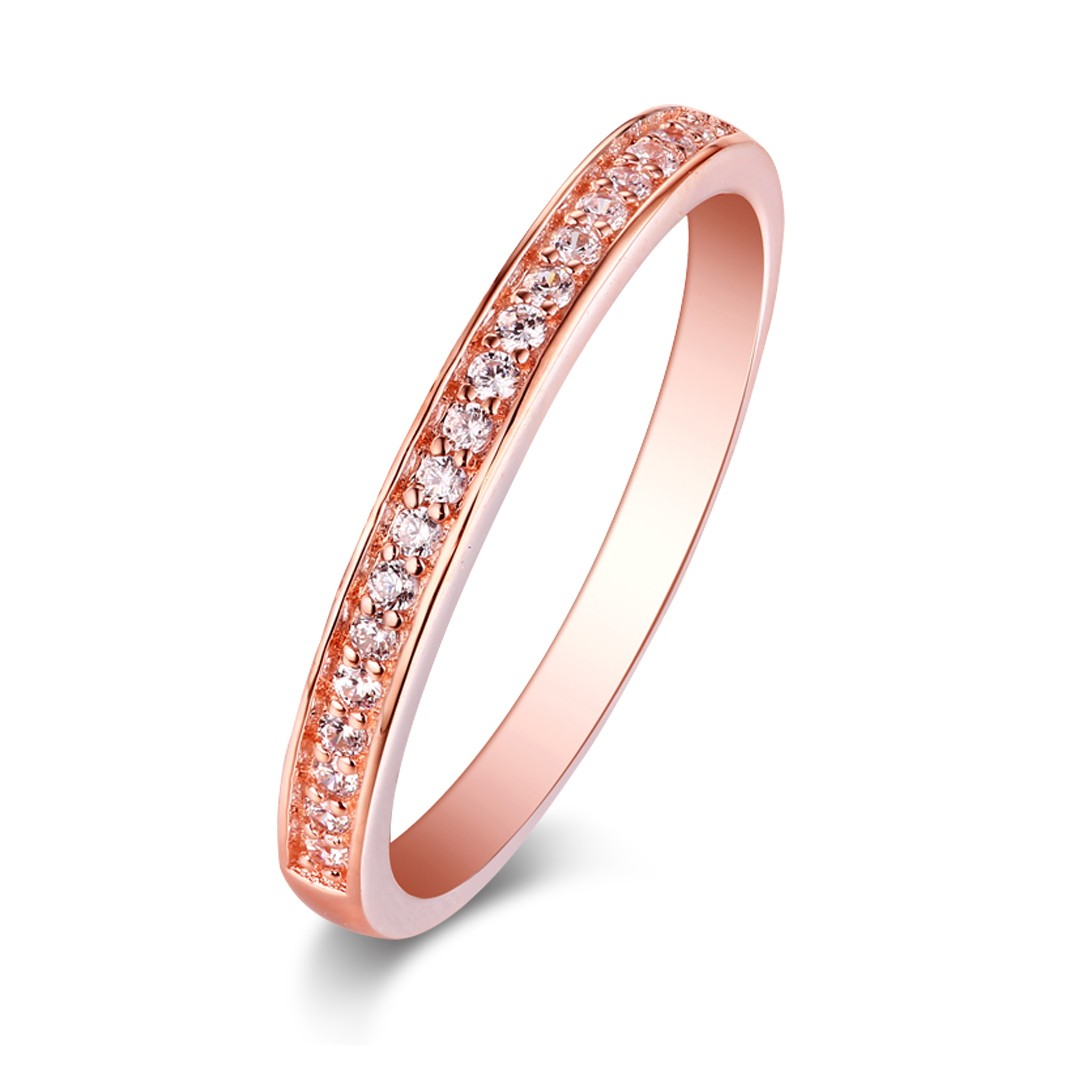 Round Cut White Sapphire Rose Gold Sterling Silver Wedding Bands