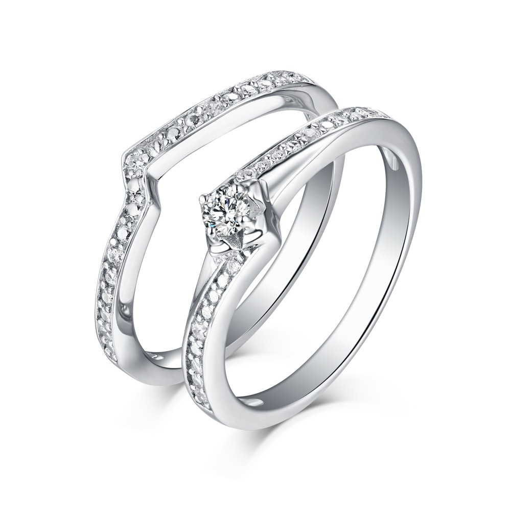 Sweet Round Cut White Sapphire 925 Sterling Silver Ring Sets