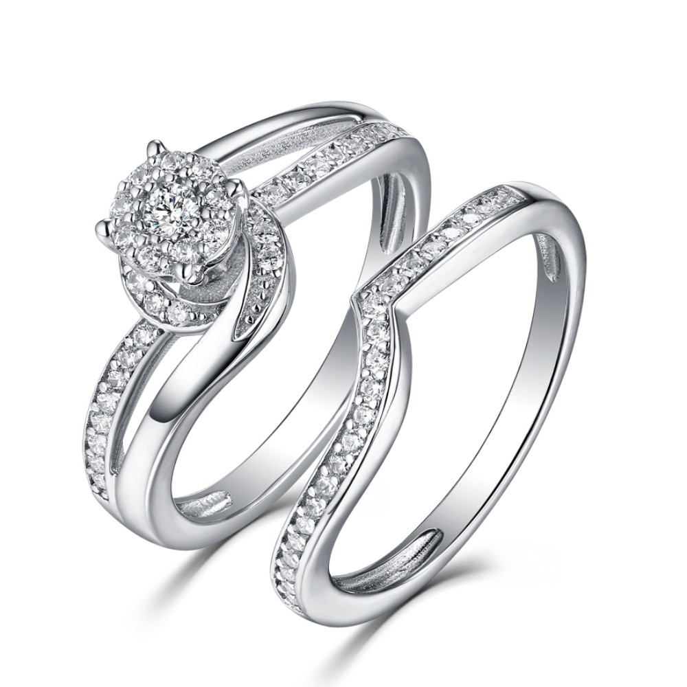 Round Cut White Sapphire 925 Sterling Silver Halo Ring Sets