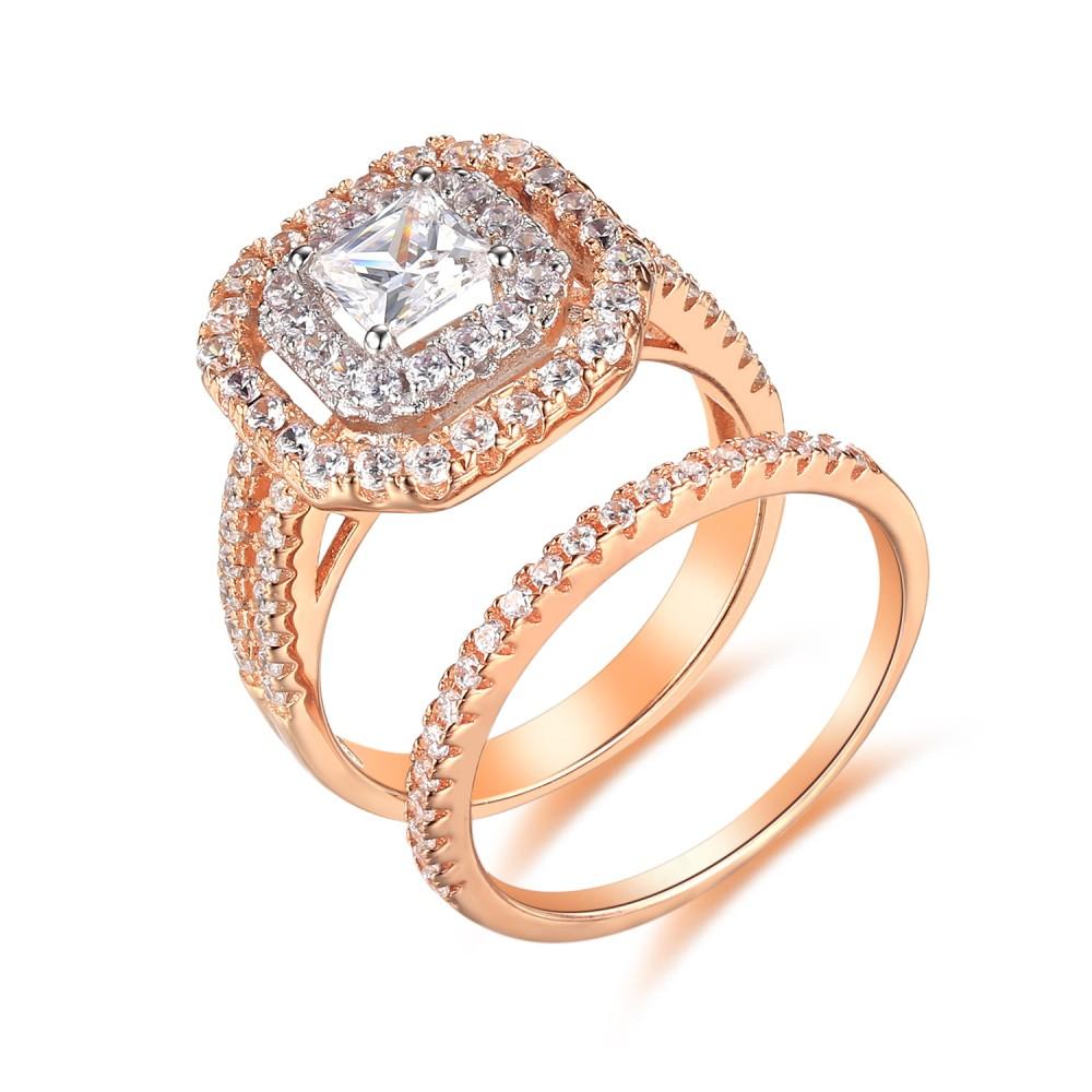 Rose Gold 925 Sterling Silver Princess Cut 1 1 2ct Gemstone Bridal