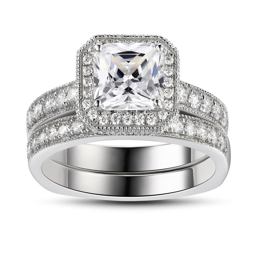 9aa1064d98c9b3 Princess Cut White Sapphire 925 Sterling Silver Bridal Sets - Lajerrio  Jewelry