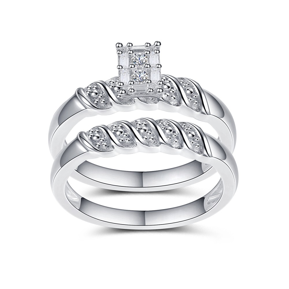Mysterious Women's White Sapphire Round Cut 925 Sterling Silver Bridal Sets