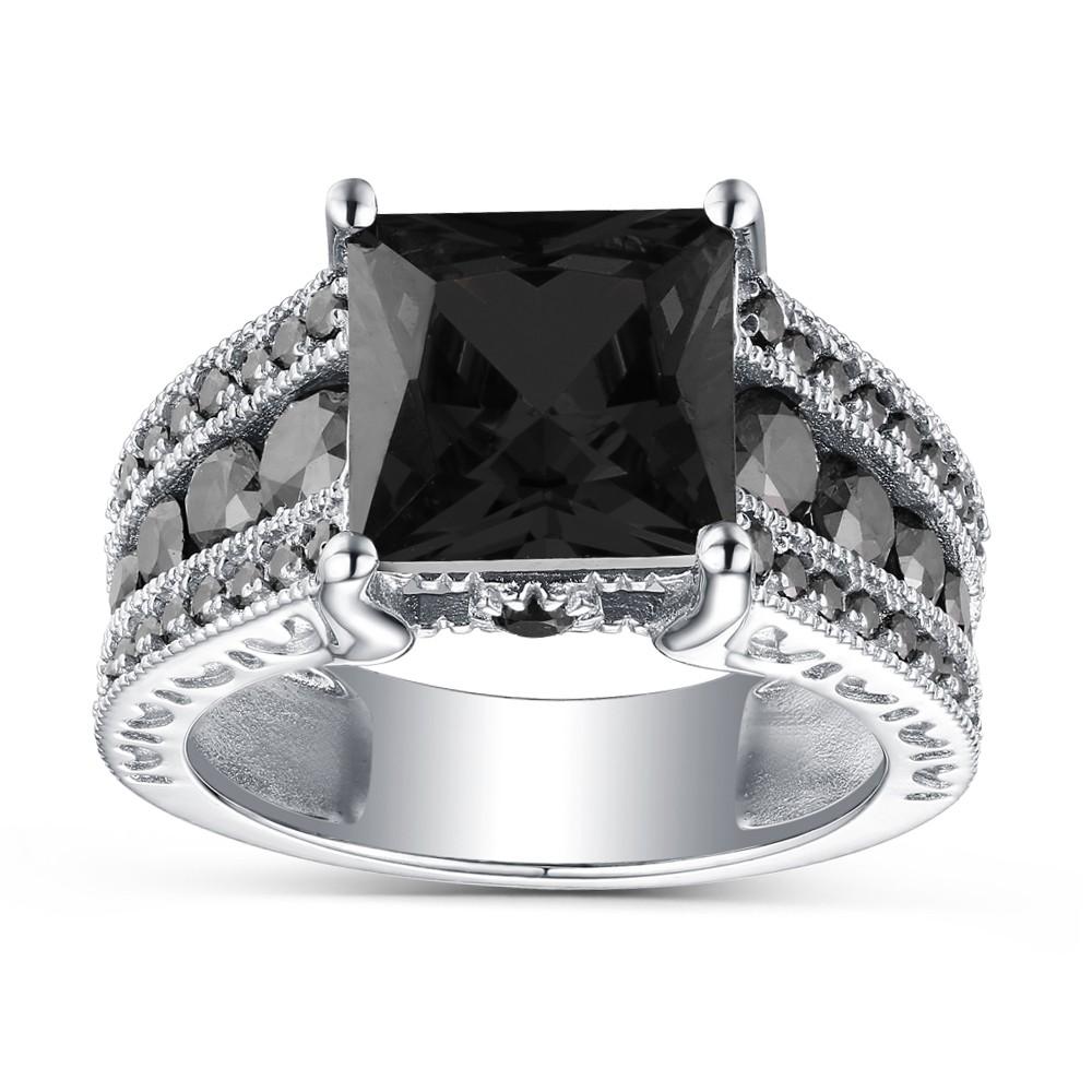 Princess Cut Black Sapphire 925 Sterling Silver Engagement Rings