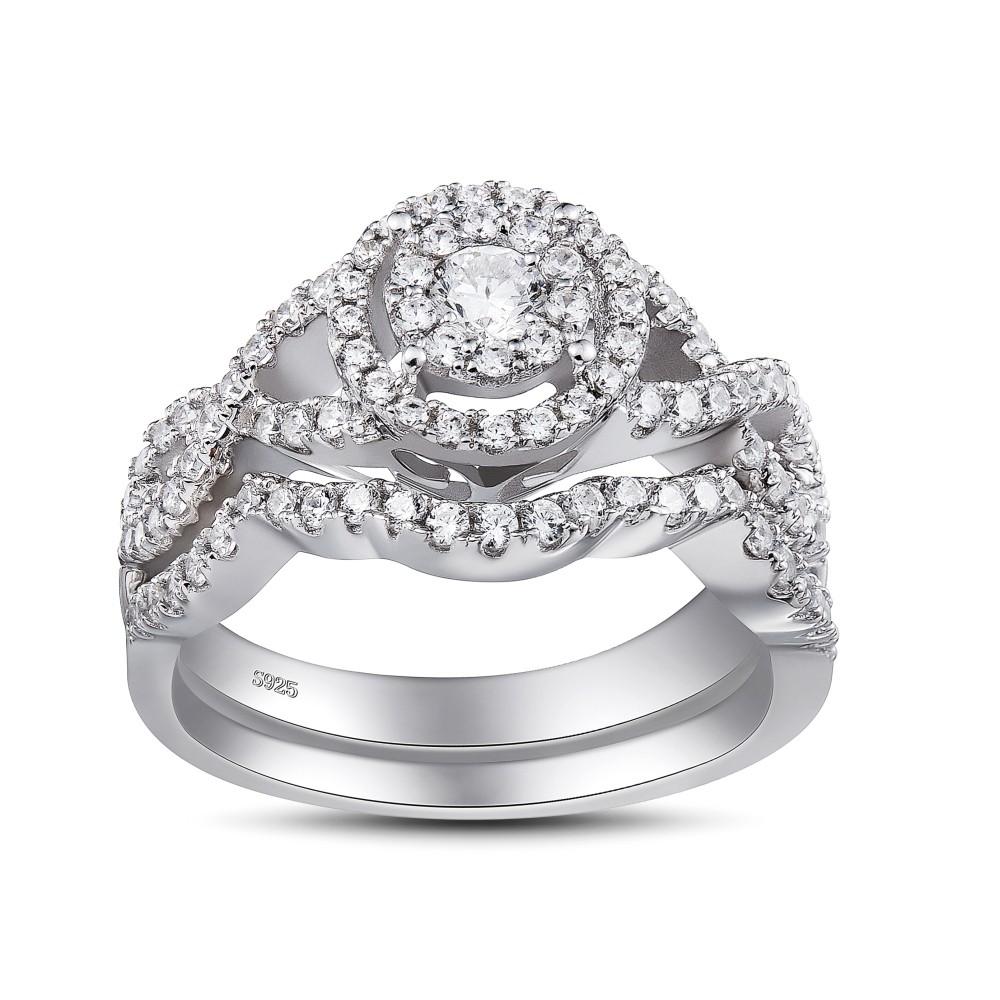 Gemstone Round Cut 925 Sterling Silver Bridal Sets