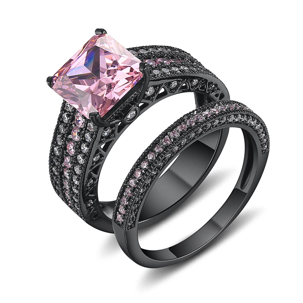 Asscher Cut Pink Sapphire Black 925 Sterling Silver Bridal Sets