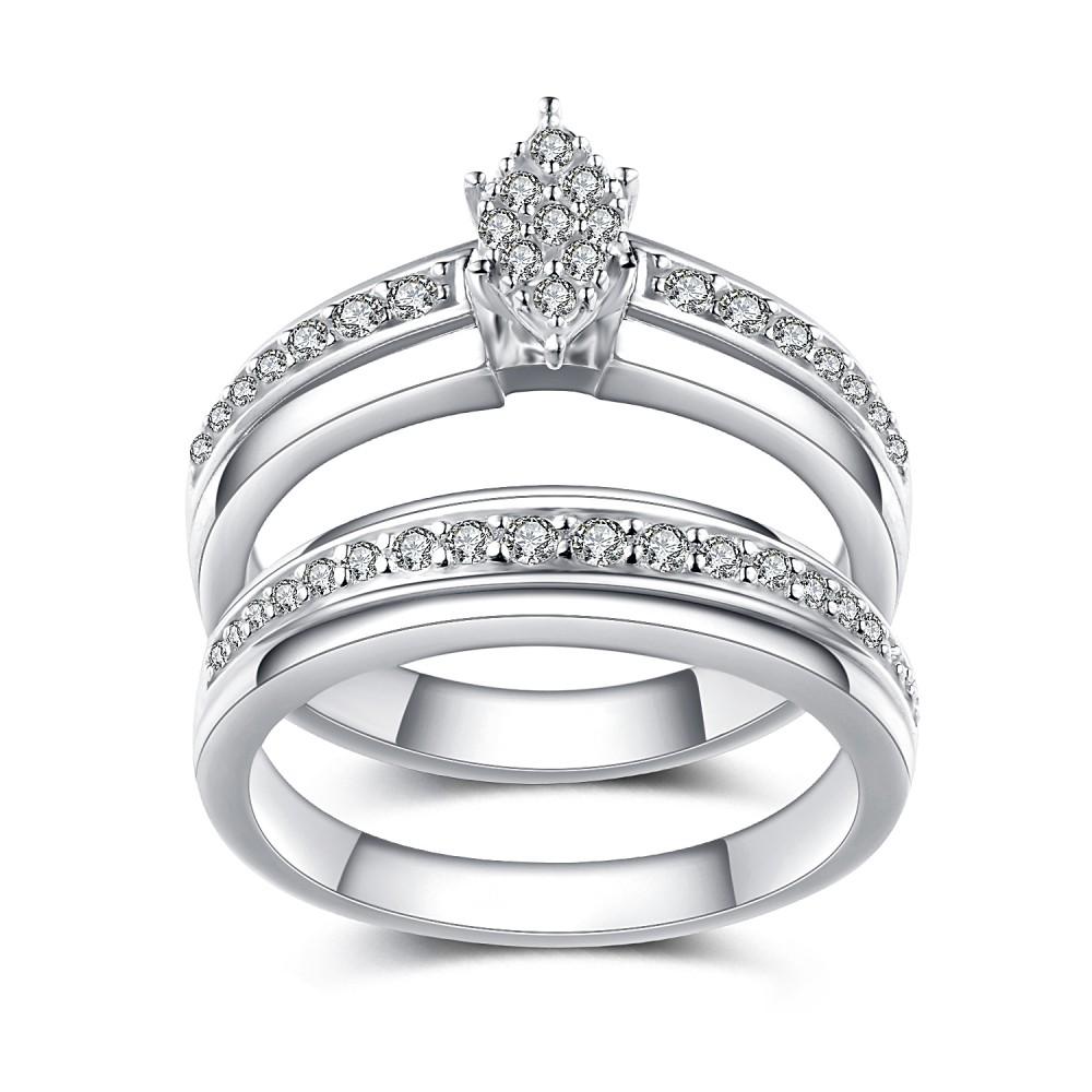 Unique Design White Sapphire 925 Sterling Silver Bridal Sets