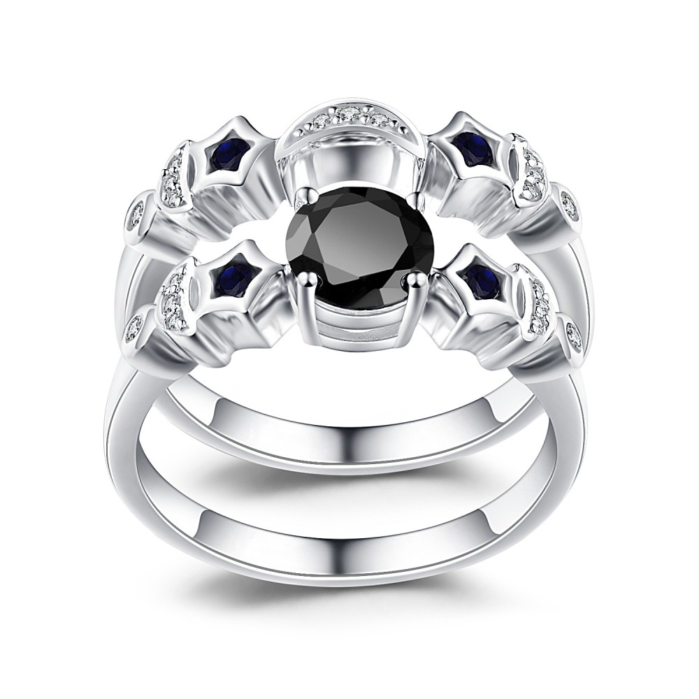 Moon and Star Black Sapphire 925 Sterling Silver Bridal Sets