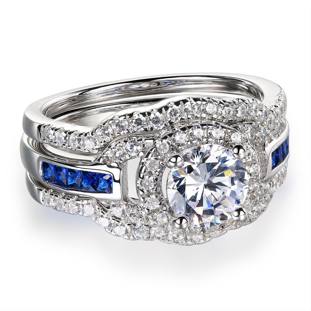 Round Cut White Sapphire 925 Sterling Silver Women's Wedding Ring Set
