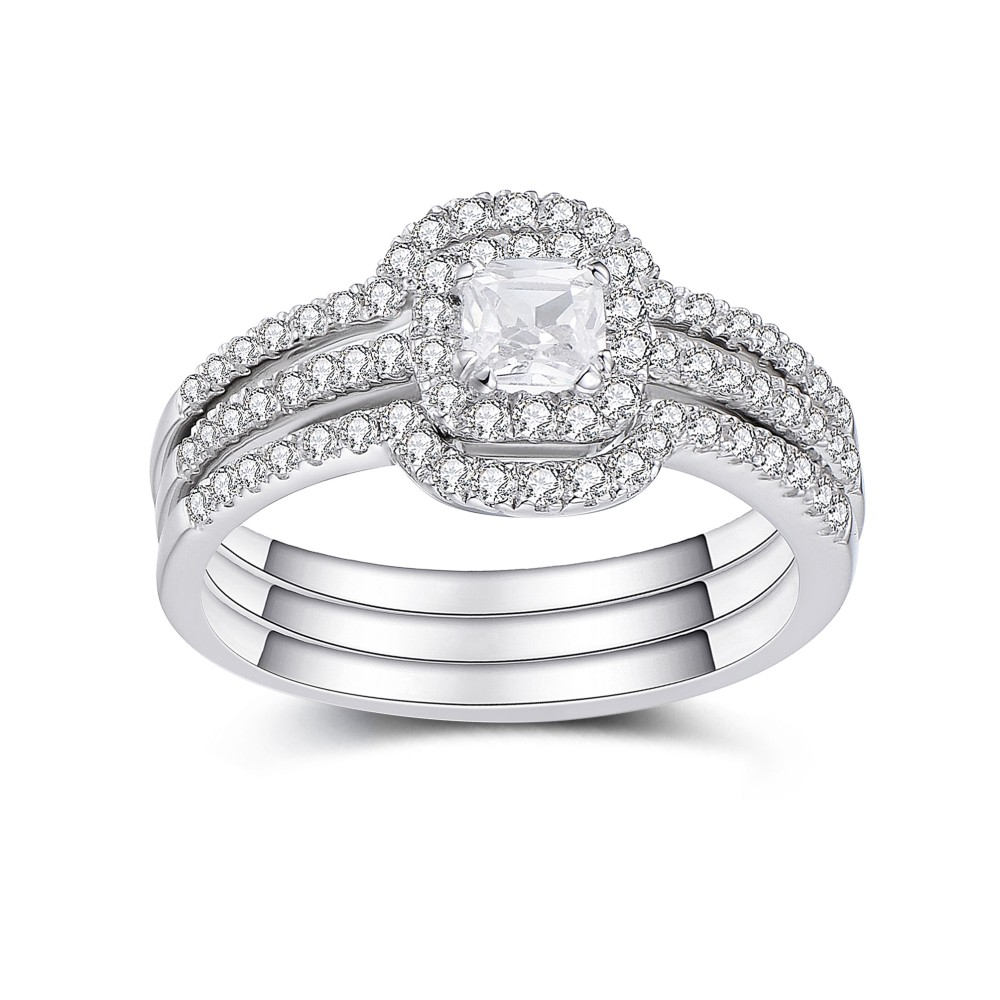 Asscher Cut White Sapphire 925 Sterling Silver Bridal Sets