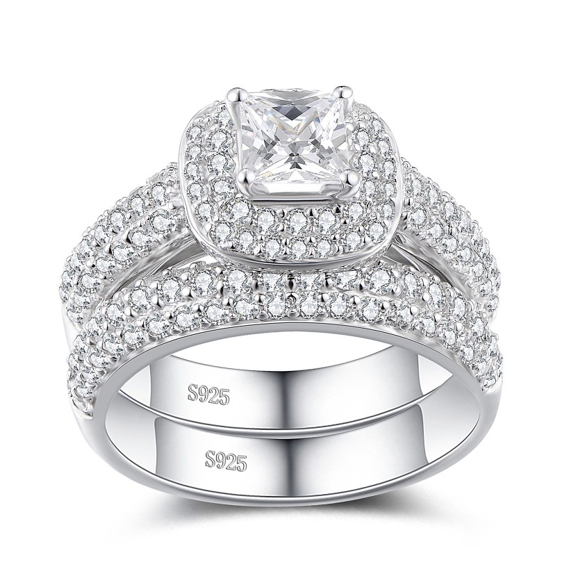 Princess Cut White Sapphire Sterling Silver Women's Bridal Set Ring