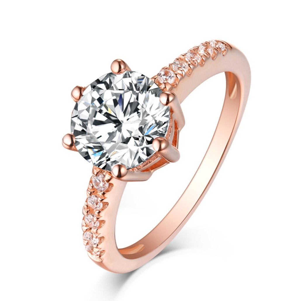 Round Cut White Sapphire Rose Gold Sterling Silver Engagement Rings