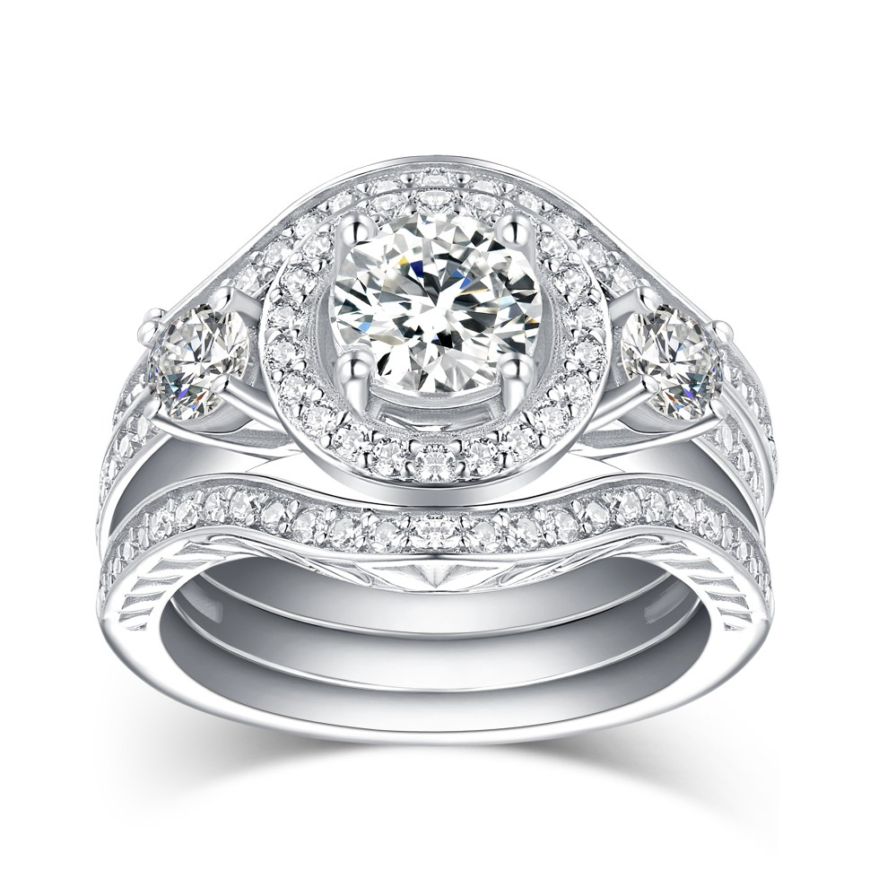 Round Cut White Sapphire 925 Sterling Silver 3-Piece Ring Sets