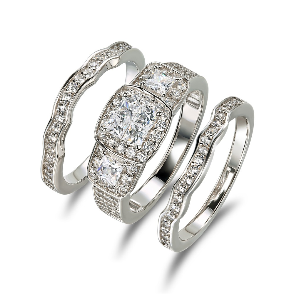 Princess Cut White Sapphire 925 Sterling Silver 3 Piece Bridal Sets