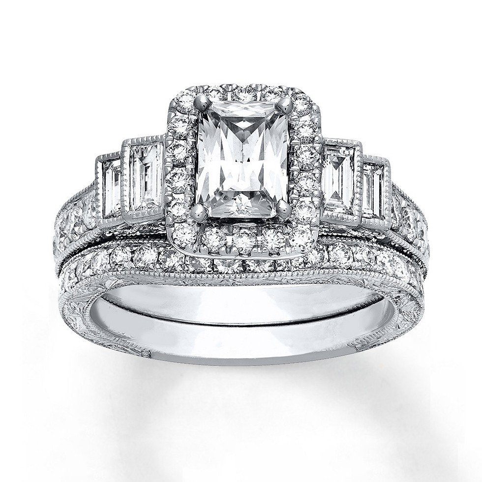 Emerald Cut White Sapphire 925 Sterling Silver Halo Bridal Sets