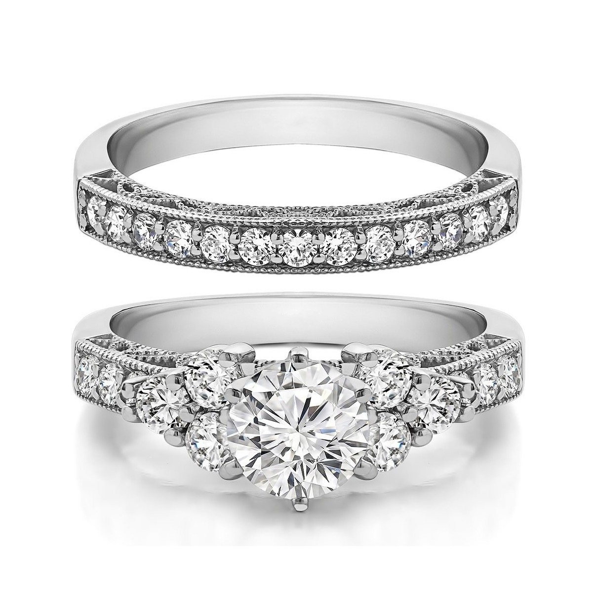 Round Cut White Sapphire Sterling Silver Bridal Sets