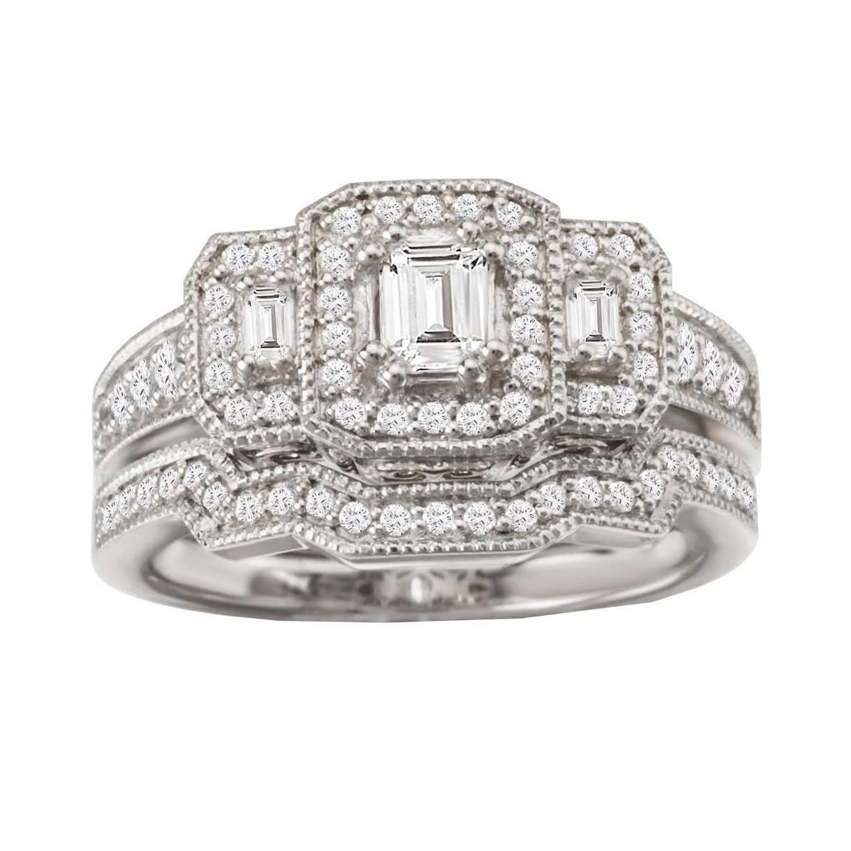 Emerald Cut White Sapphire Sterling Silver Halo 3-Stone Bridal Sets