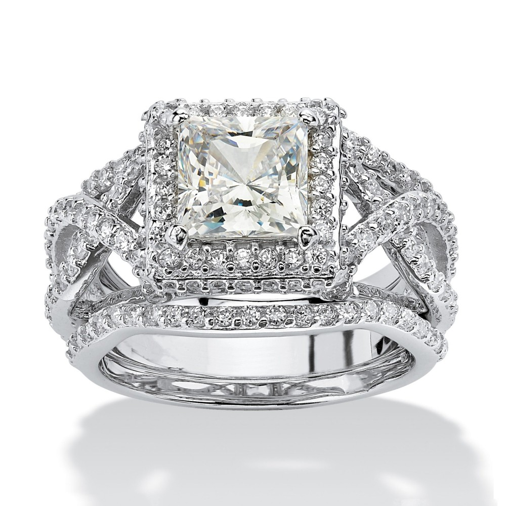 Princess Cut White Sapphire Sterling Silver Halo 3-Piece Bridal Sets