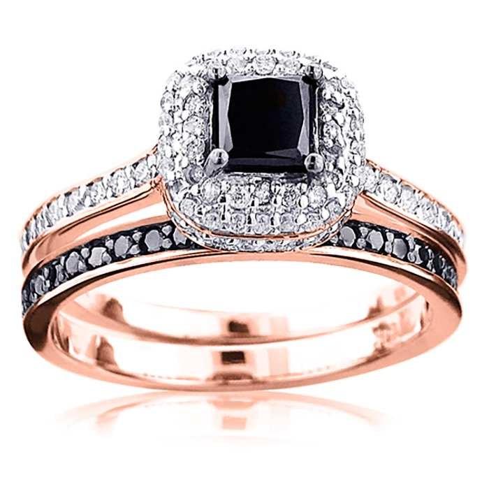 Rose Gold Princess Cut Black Sapphire Sterling Silver Halo Bridal Sets