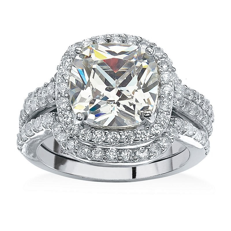 Cushion Cut White Sapphire 925 Sterling Silver 3-Piece Halo Bridal Sets
