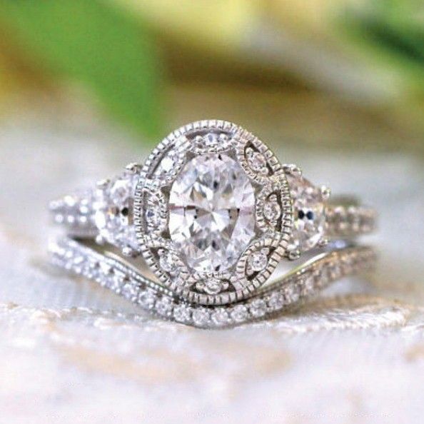 Vintage Oval Cut White Sapphire Halo Bridal Ring Sets