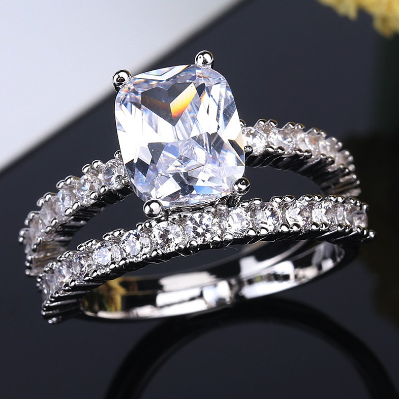Radiant Cut White Sapphire Unique Bridal Ring Sets