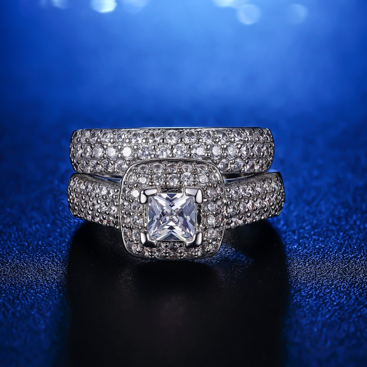 Princess Cut Unique Bridal Sets