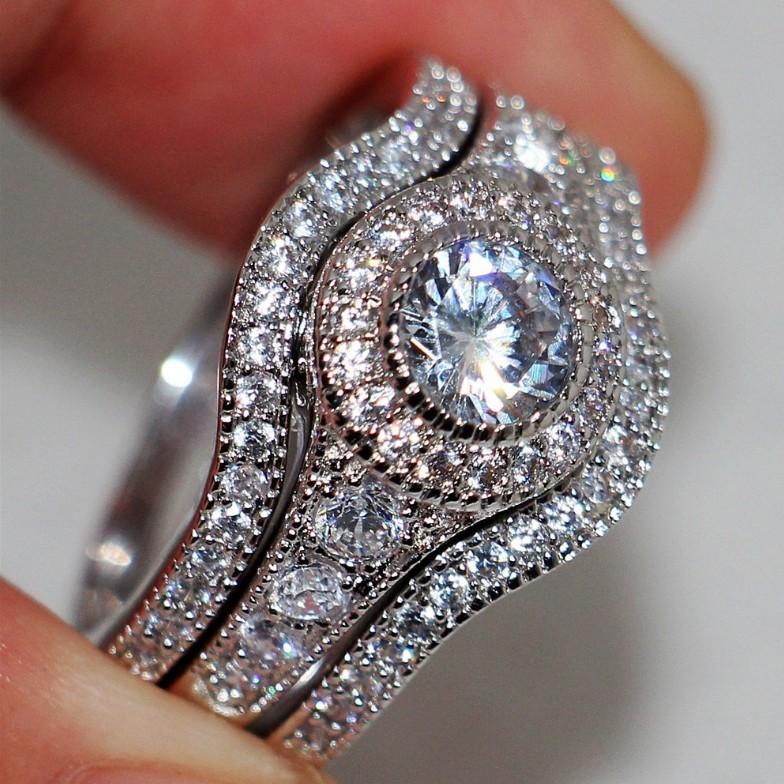 Round Cut Vintage Bridal 3 Piece Ring Sets