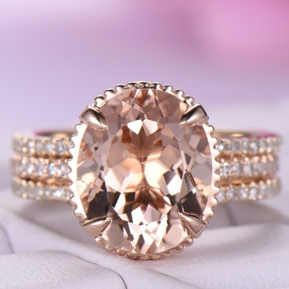 Oval Cut White Sapphire Rose Gold Bridal Ring Sets