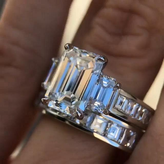 Emerald Cut White Sapphire 925 Sterling Silver 3-Stone Bridal Sets