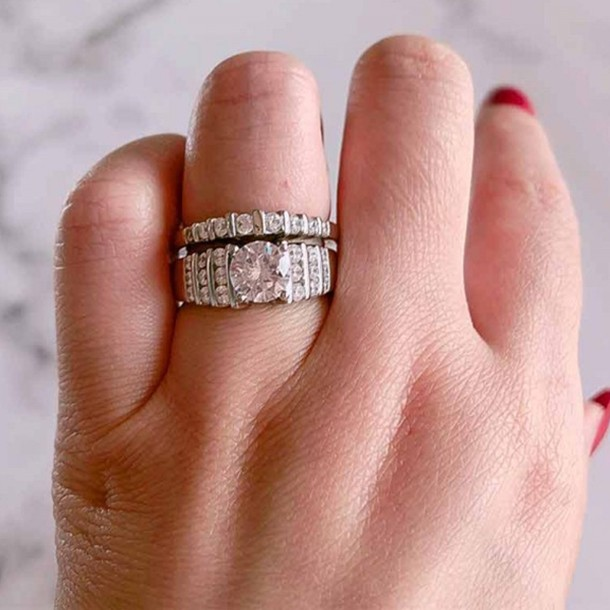 Round Cut White Sapphire 925 Sterling Silver Art Deco Bridal Sets