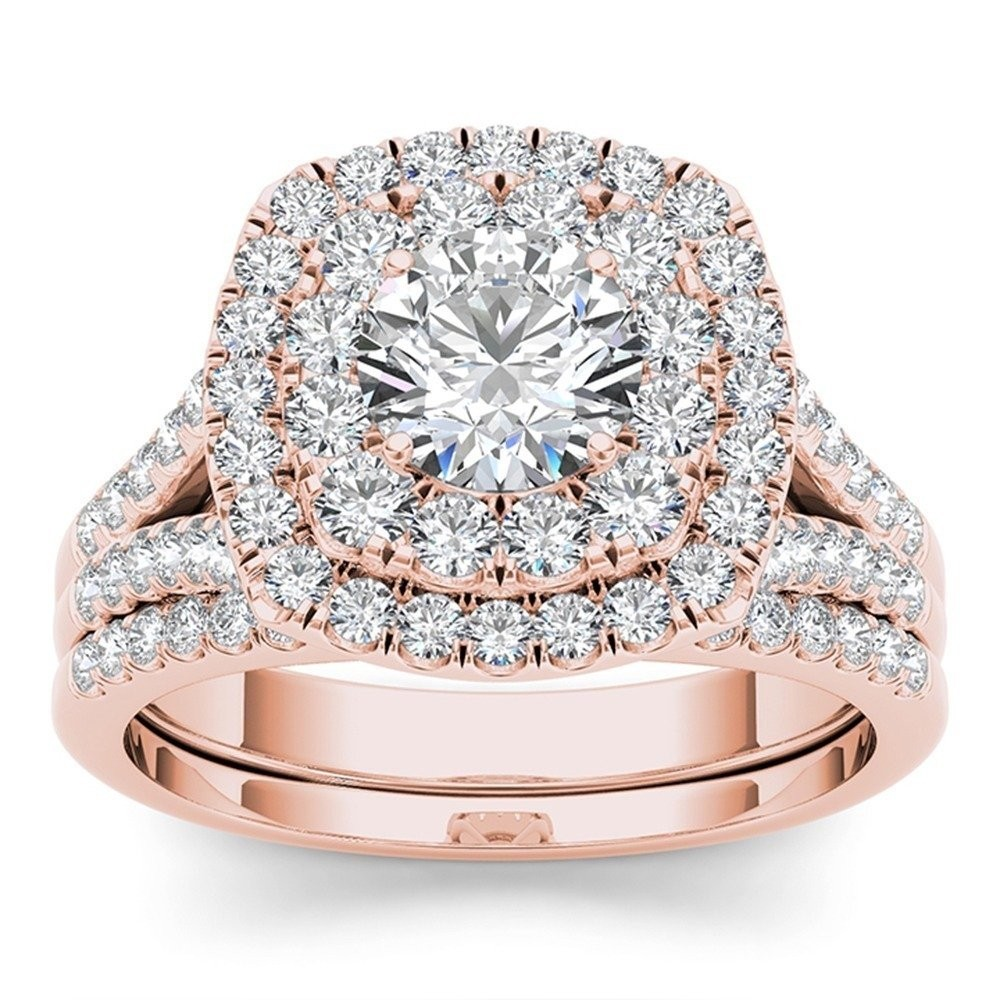Round Cut White Sapphire Rose Gold Sterling Silver Double Halo Bridal Sets