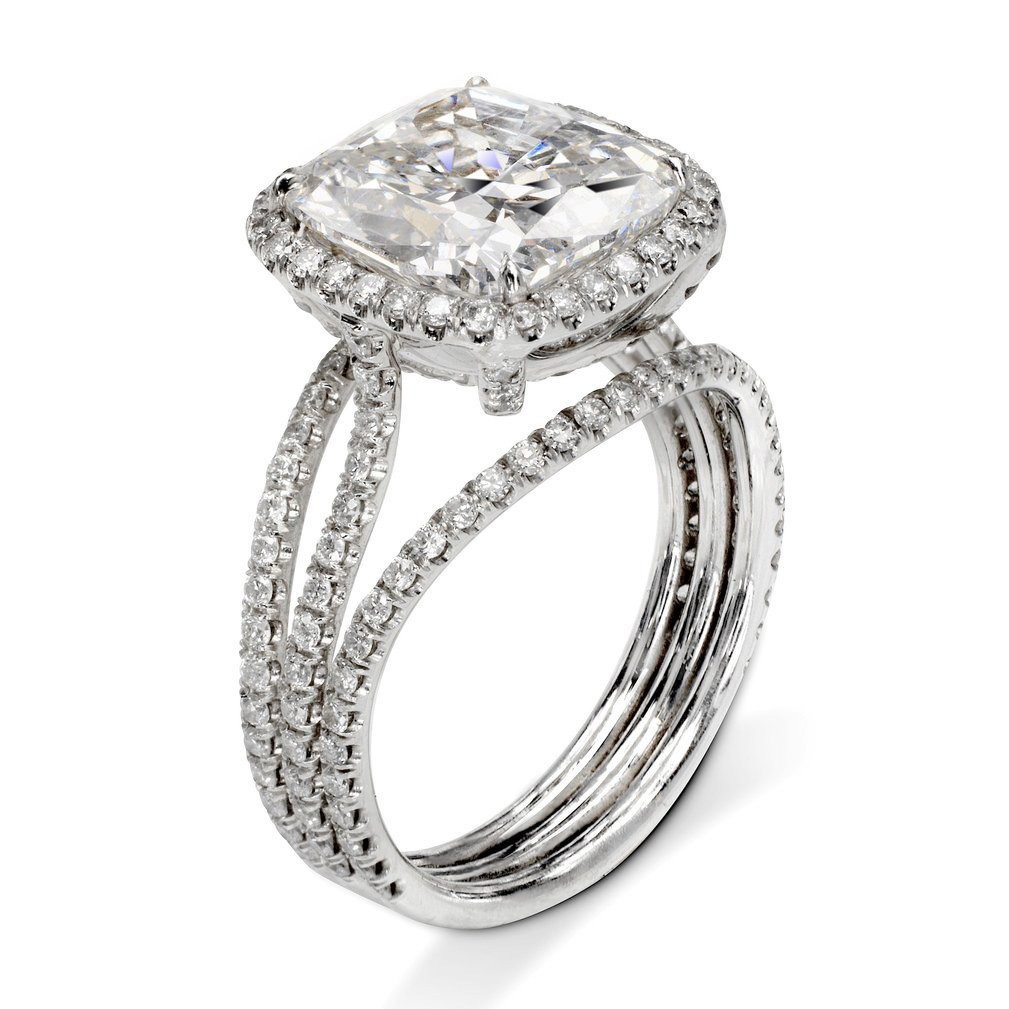 Cushion Cut White Sapphire 925 Sterling Silver Halo 3-Piece Bridal Sets