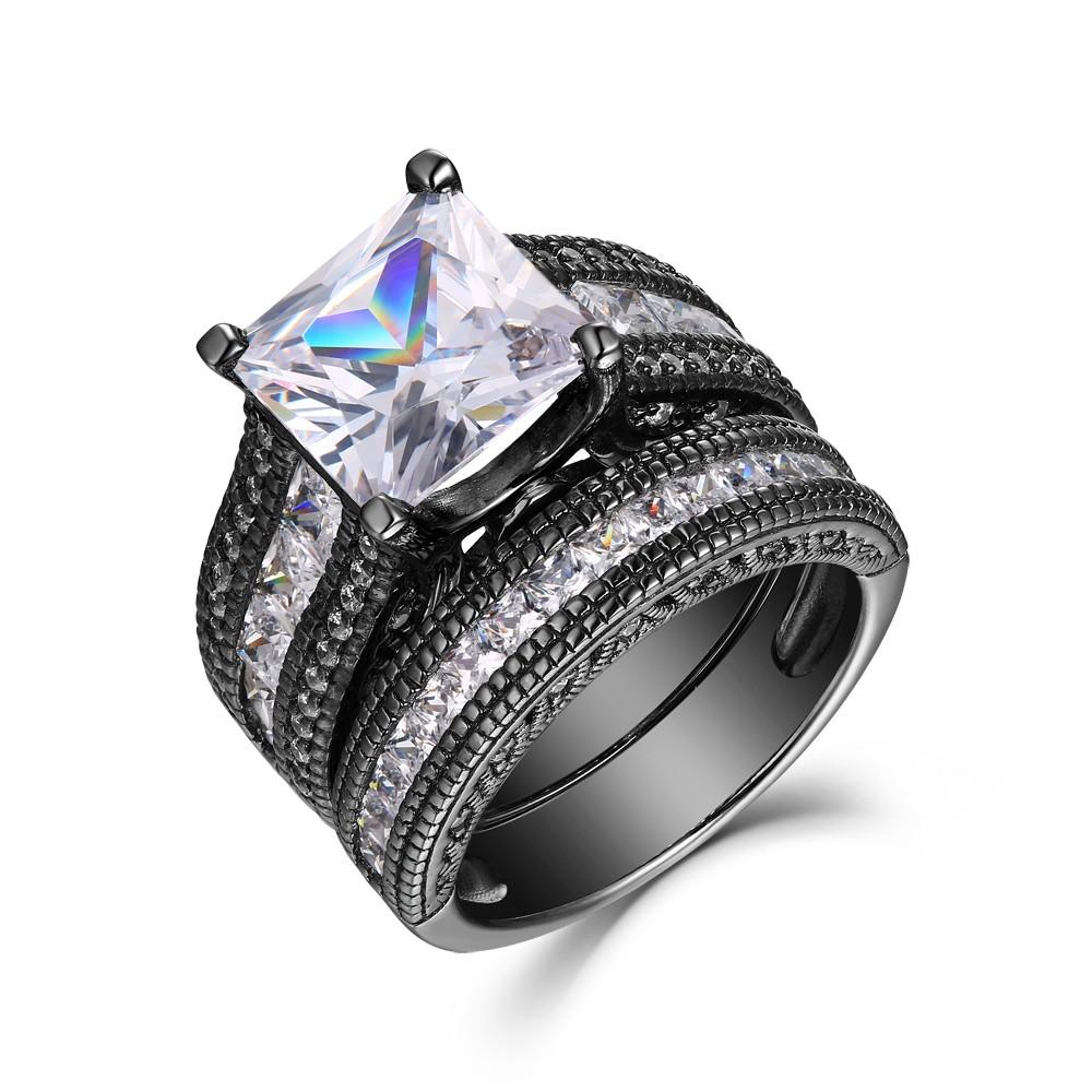 Princess Cut White Sapphire Black 925 Sterling Silver Bridal Sets
