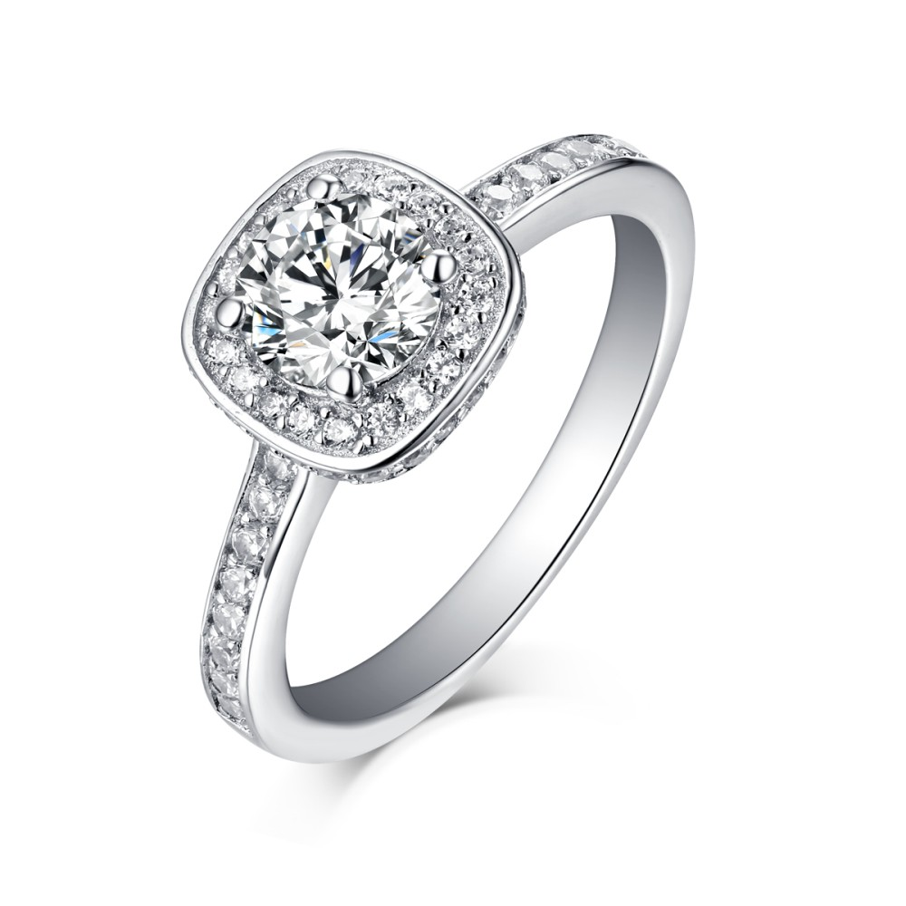 Round Cut White Sapphire 925 Sterling Silver Halo Engagement Rings