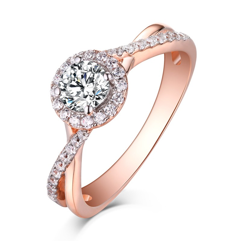 Round Cut Rose Gold 925 Sterling Silver White Shire Halo Engagement Rings Lajerrio Jewelry