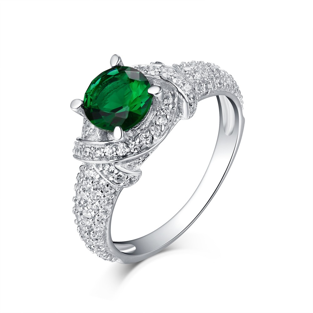 Round Cut S925 Silver Emerald Sapphire Art Deco Engagement Rings