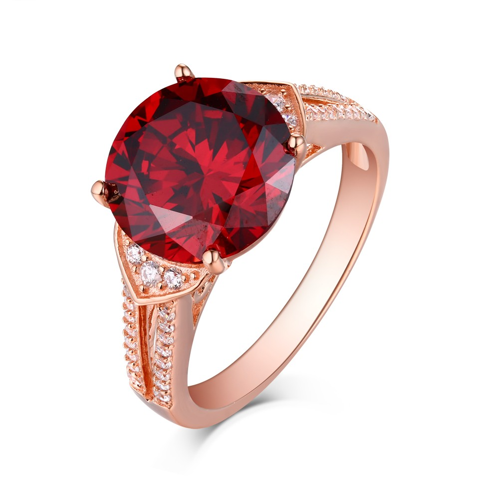 Round Cut Ruby Rose Gold 925 Sterling Silver Engagement ...