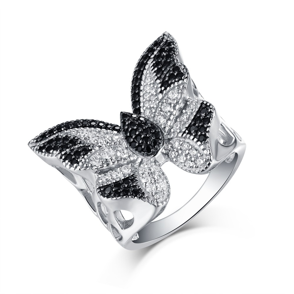 Round Cut S925 Silver Black & White Sapphire Butterfly Rings