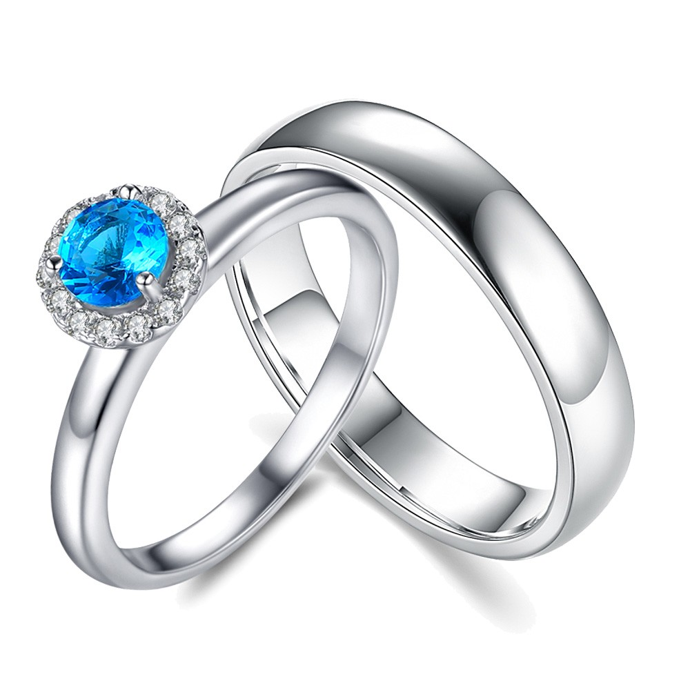 Round Cut Aquamarine Sterling Silver Halo Couple Rings