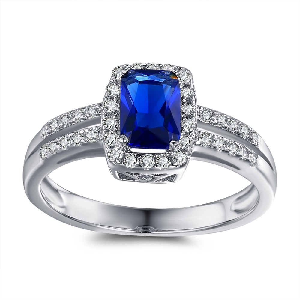 Cushion Cut Blue and White Sapphire Sterling Silver Engagement Ring