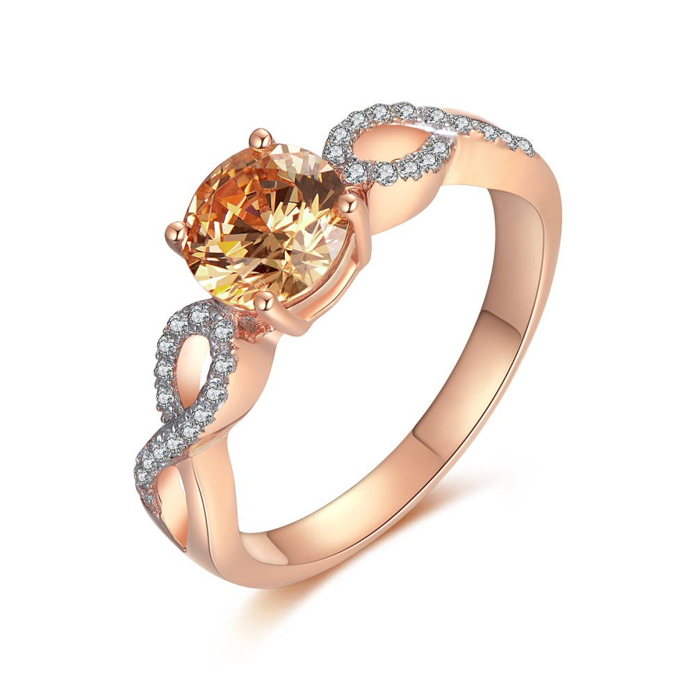 Orange Sapphire Round Cut 925 Sterling Silver Women's Engagement Ring