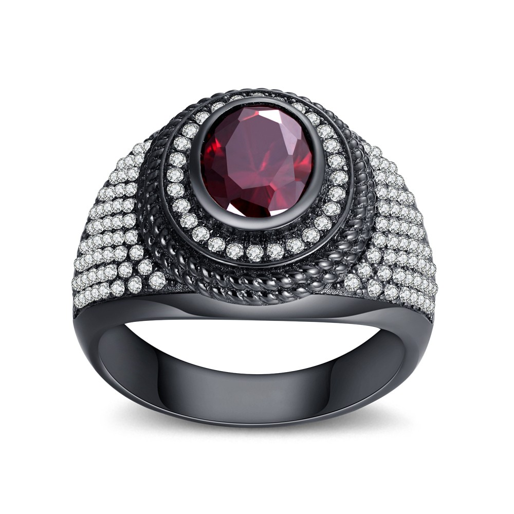 Garnet Round Cut Sterling Silver Women's Ring