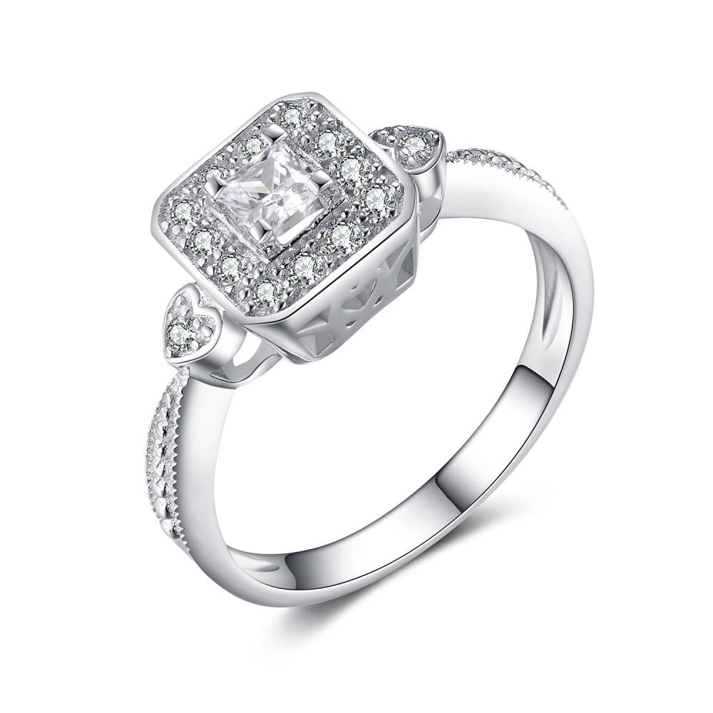 Princess Cut Gemstone 925 Sterling Silver Engagement Ring