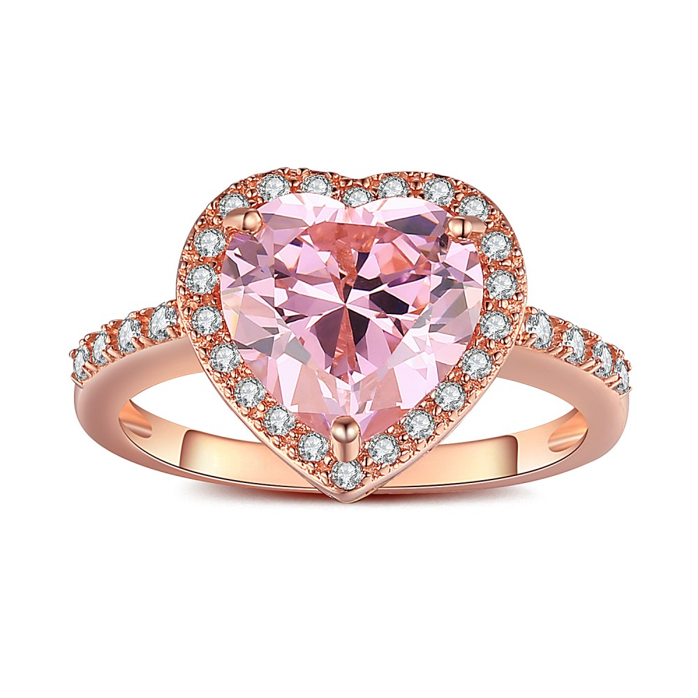 Heart Cut Pink Sapphire Rose Gold 925 Sterling Silver Engagement ...