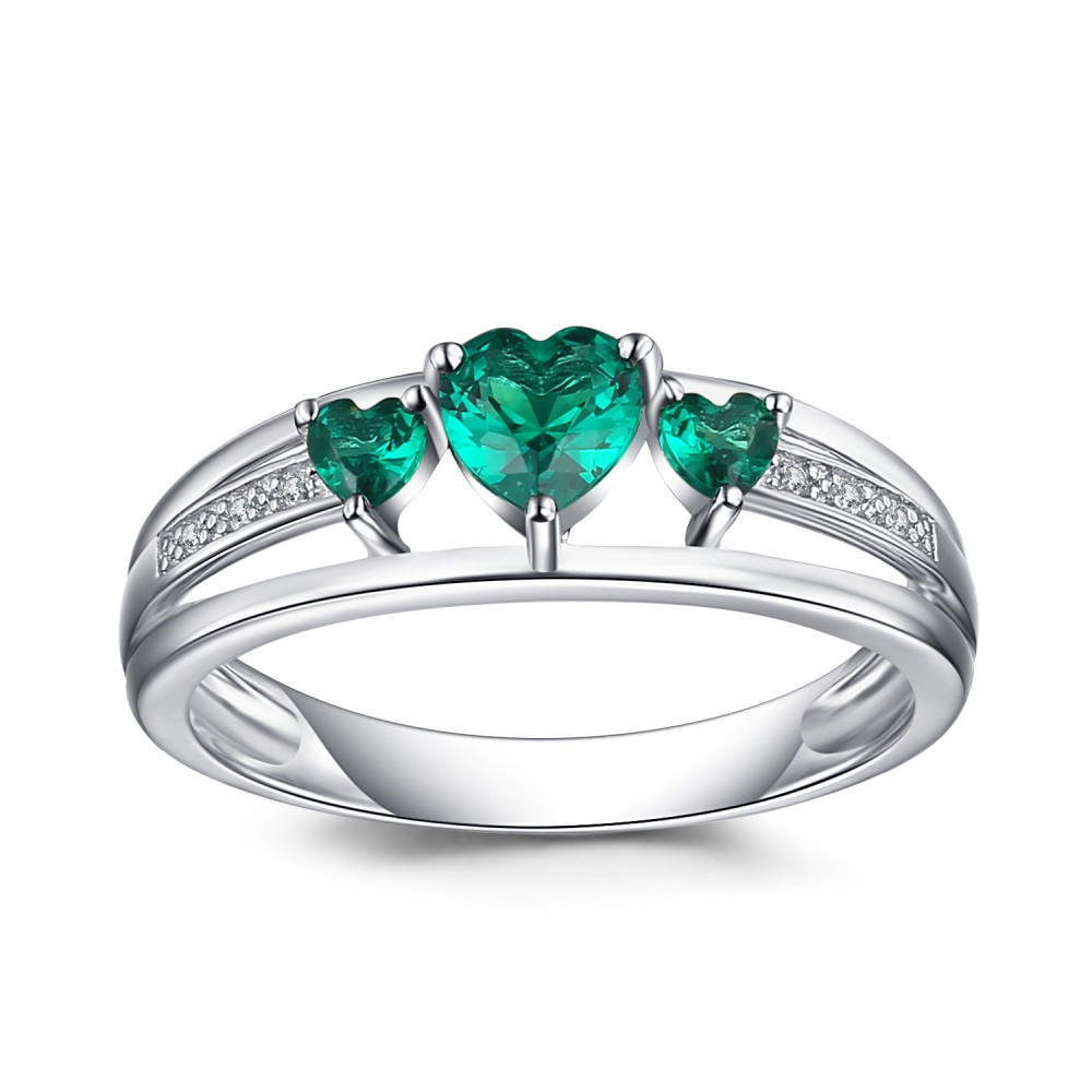Heart Cut Emerald 925 Sterling Silver Women's Engagement Ring