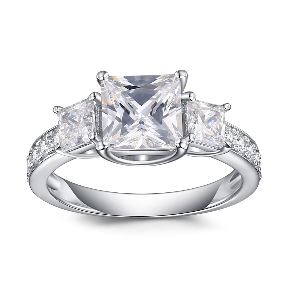 Princess Cut White Sapphire 925 Sterling Silver Engagement Ring