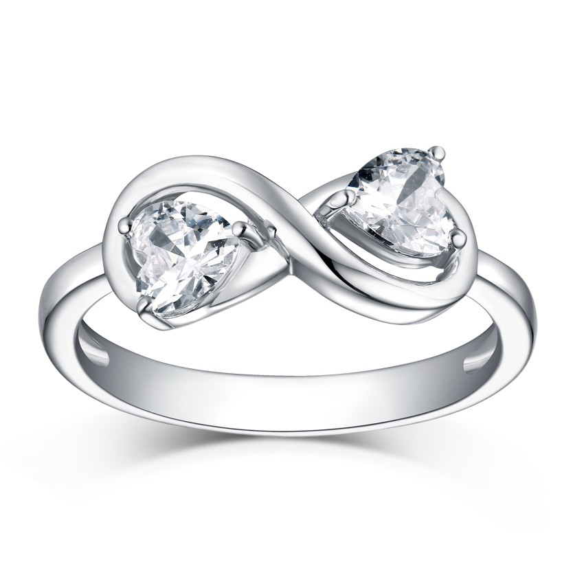 Heart Cut S925 Silver White Sapphire Infinity Rings