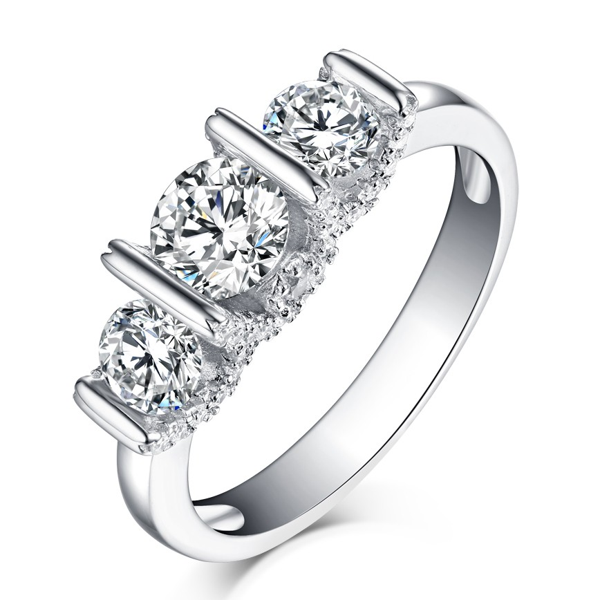 Round Cut White Sapphire S925 Silver 3-Stone Engagement Rings
