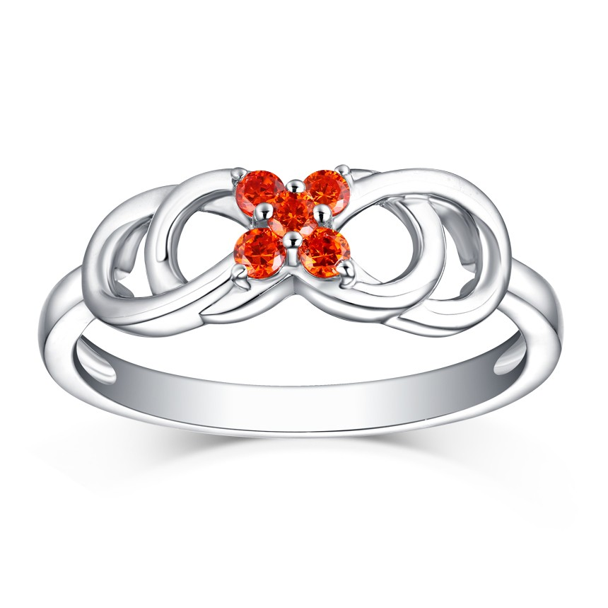 Round Cut Orange Sapphire S925 Silver Infinity Rings